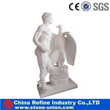 Famous David Statue , White Marble Sculpture, David and Eagle Carving Stone Manufacturer