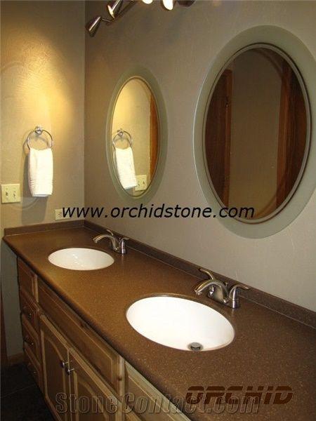 Brown engineered quartz stone vanity tops brown artifical - Engineered stone bathroom countertops ...