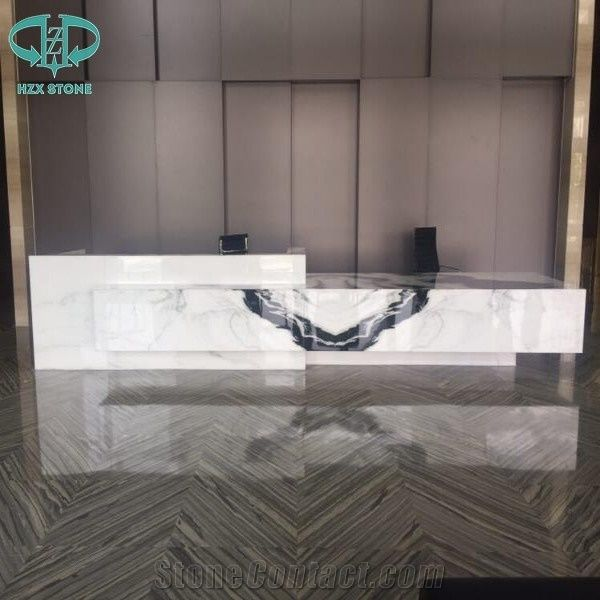 Luxury Panda White Marble Countertops Reception Desk Table