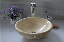 Beige Marble Manmade Stone Basin Giallo Atlantic Wash Bowl for Bathroom Sink