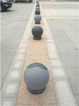 China Black Granite Parking Stone, Polished and Flamed Outdoor Parking Barriers