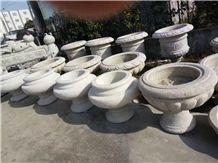 China White Granite Flower Pot,Ourdoor Landscaping Planters,Exterior Flower Vases