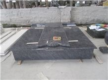 Tombstone/Monument/G664/G623/Shanxi Black/Bahama Blue/Orion Double /Single Monuments with Headstone Cross