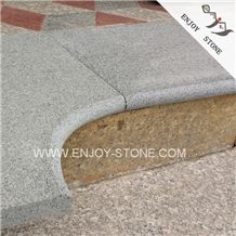 Cheap Gray GraniteFlamed Finish Padang DarkSesame Black Swimming - Curved tile border
