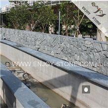 G612 Olive Green Granite,Zhangpu Dark Green Granite Cobble Stone,Granite Drive Way Patio Paving Stone with Natural Split Finish,Cube Exterior Building Stone,Garden Stepping Pavements