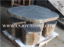 Honed Zhangpu Bluestone / Andesite or Basalt with Catpaws or Honeycomb, Natural Landscaping Garden Table Set