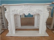 White Marble Fireplace Mantel Handcarved Flower Sculptured Fireplace, Polished White Marble Fireplace Mantel/Hearth/Design/Surround, Volakas Fireplace, British Style Fireplace
