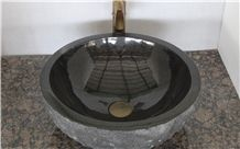 Black Granite Wash Basins,China Black Granite Round Sinks,Black Amber Granite Bathroom Polished Finished Sink