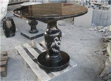 G684 Black Granite Garden Table, Polishing Granite Garden Chairs