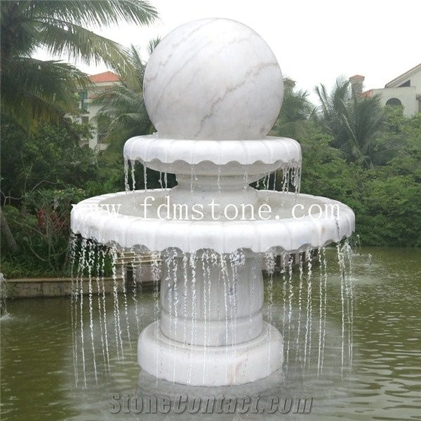Cararra White Marble Garden Big Rolling Ball Fountain,Rock Water Feature,Rock  Water Sculpture, White Stone Sphere Ball