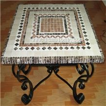 Garden Furniture Mosaic Stone Table and Chair Bistro Set,Rectangle Natural Stone Mosaic Table