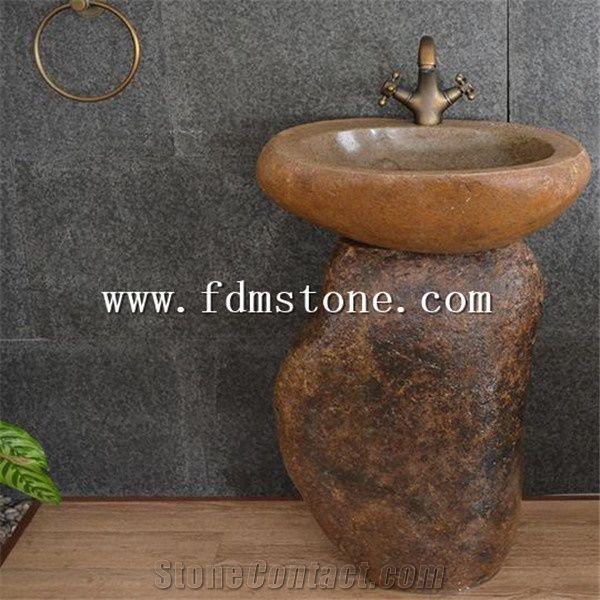 Outdoor Garden Natural Stone Sink Free Standing Basin Basalt Pedestal Antiqued Creative Round Washing