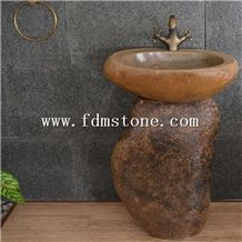 Merveilleux Outdoor Garden Natural Stone Sink,Free Standing Basin Basalt Pedestal  Antiqued Sink,Creative Round Washing Basin