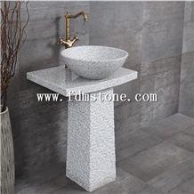 Outdoor Garden Natural Stone Sink,Free Standing Basin Basalt Pedestal  Antiqued Sink,Creative Round Washing Basin