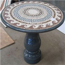 Round Marble Mosaic Medallion, Round Stone Mosaic Table,Mosaic Inlay Marble Table Top,Work Tops