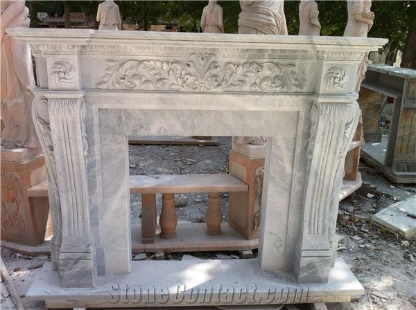 Hand Carved Grey Marble Fireplace Mantel Surround From