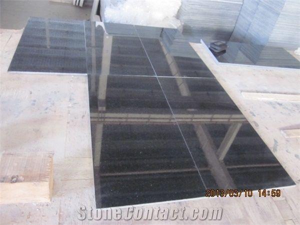 China Polished Star Black Galaxy Granite Floor Wall Tiles
