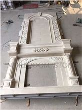 New Design Elegant Beige Marble Fireplace Mantel