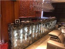 Smoke Crystal Semiprecious Stone Reception Desk/Semi Precious Table Tops/Dark Green Semi-Precious Stone Reception Counter/Work Top/Semiprecious Reception for Hotel&Office&Bar/Interior Decoration