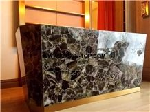 Smoke Crystal Semiprecious Stone Reception Desk/Semi Precious Table Tops/Dark Green Semi-Precious Stone Reception Counter/Work Top/Semiprecious Reception for Hotel&Office/Interior Decoration
