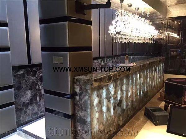 Smoke Crystal Semiprecious Stone Table Tops Semi Precious Bar Top Dark Green Reception Counter Desk