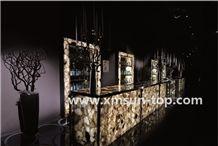 Smoke Crystal Semiprecious Stone Table Tops/Smoke Crystal Semi-Precious Stone Bar Top/Dark Green Stone Reception Counter/Stone Reception Desk/Semi Precious Stone Work Tops/Semiprecious Reception