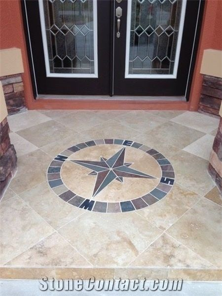 40 mariners compass rose tile mosaic