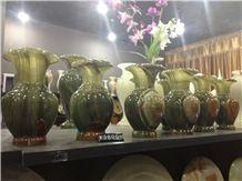 Green Onyx Flower Vase, Dark Green , Onyx Flower Vase, Light Green Onyx Home Decor