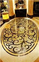 Marble Black Golden/Golden Rose Marble/Rema Marfil/Onyx Yellow/Flooring Waterject Medallion, Pattern Waterjet Inlay Medallions