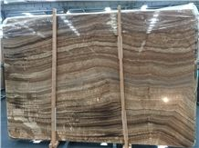 China Wooden Yellow Onyx Polished Slabs Tiles
