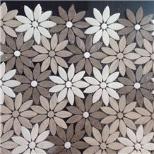 Wooden Vein Marble Mosaics,Flower Shape Marble Mosaic,Wall Covering,Wall Panels,Mosaics for Wall Covering,Honed/Polished Surface Mosaic,Floor Mosaic,Mosaic Pattern