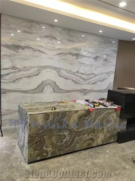 Natural Stone Reception Counter Ink Grey Onyx Top Stone