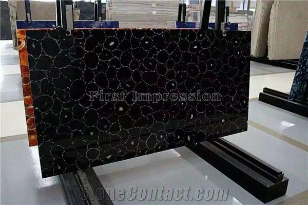 Black agate semiprecious stone big slabs tiles gangsaw slab