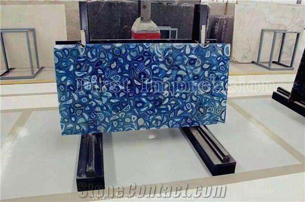 Hot blue agate semiprecious stone big slab tiles gangsaw slab
