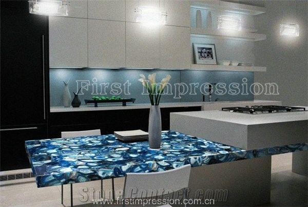 Pure blue agate semiprecious stone big slab tiles gangsaw slab