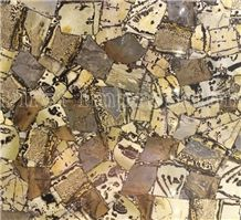 Wood Fossil Gemstone Tiles & Slabs/Yellow Semi Precious Stone Wall Panel/Blue Semi Precious Wall Covering/Interior Decoration for Kitchen/Background/Semiprecious Stone Tiles