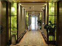 Verde Bursa Artificial Alabaster Backlit Tile Walling Cladding Panel,Engineered Glass Onyx Translucent Stone Green Tiles for Walling,Transtones Customized