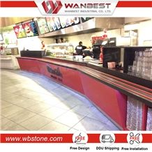 Artificial Stone Solid Surface Acrylic Restaurant Bar Counters for Sale, Table Solid Surface Bar Counter
