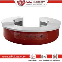 China Manufacturing White Artificial Stone Round Counter for Reception Top Solid Surface Reception Table