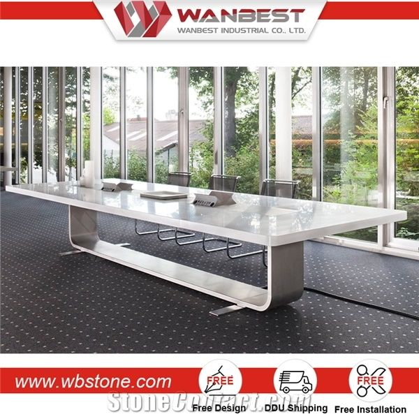 Conference Room White Artificial Marble Stone And White Granite Top Coffee Table From China Stonecontact Com