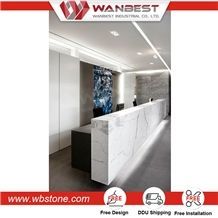 Customized Modern Artificial Stone Office Reception Counter&Blace and White Reception Desk with Led