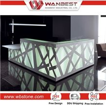 Decorative 2017 Artificial Marble Stone Hotel Reception Counter Design Led Reception Desk