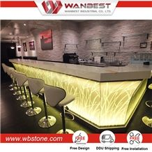 High Quality Illuminated Led Artificial Stone Bar Counter