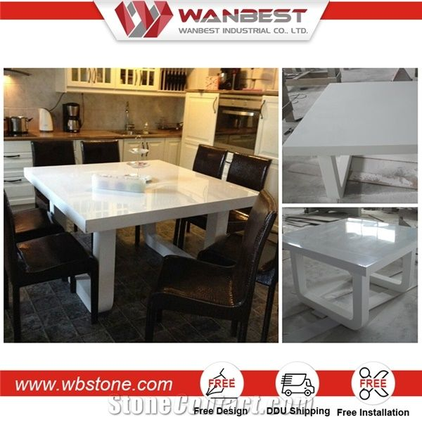 High Quality Modern White High Gloss Artificial Stone Dining Table From China Stonecontact Com
