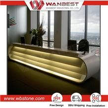 Hot Sell High Quality Big Slab Artificial Stone White Glossy Color Reception Counter Top