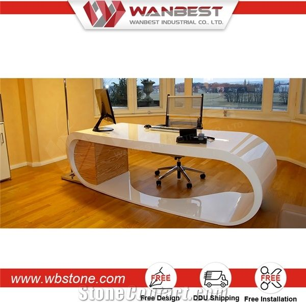 Luxury White Manager Office Computer Table Executive Ceo ...