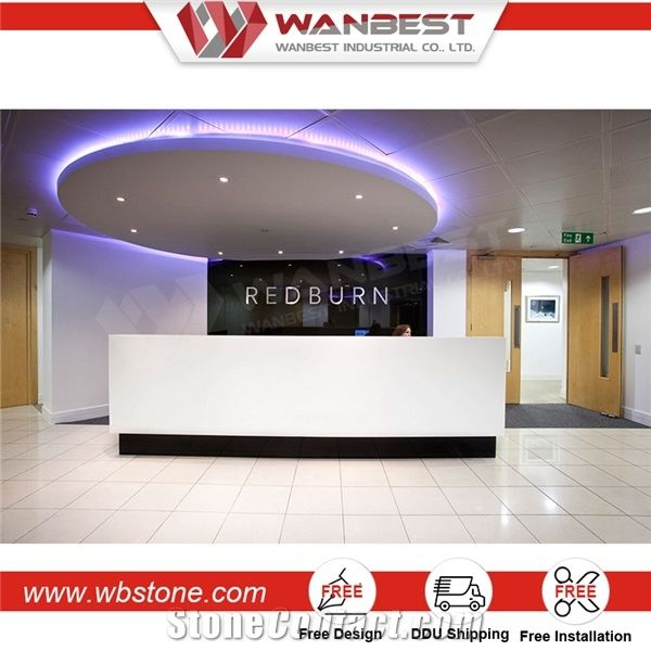 Modern Design Used Salon Front Desk Reception Counter L Shaped Artificial Stone Top