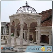 Polished Gold Plank Marble Gazebo,Own Factory Porches,High Quality Pavilions,Garden Gazebo with Iron Top,Western Style Gazebo, Marble Carved Gazebo,Sculptured Garden Gazebo, Landscaping Stones