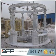 White Marble Gazebo with Cast Iron Roof for Garden