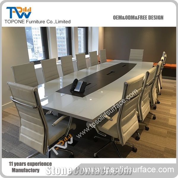 12 Seats Artificial Marble Stone Conference Tables For